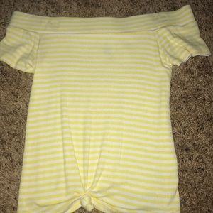 yellow striped off the shoulder